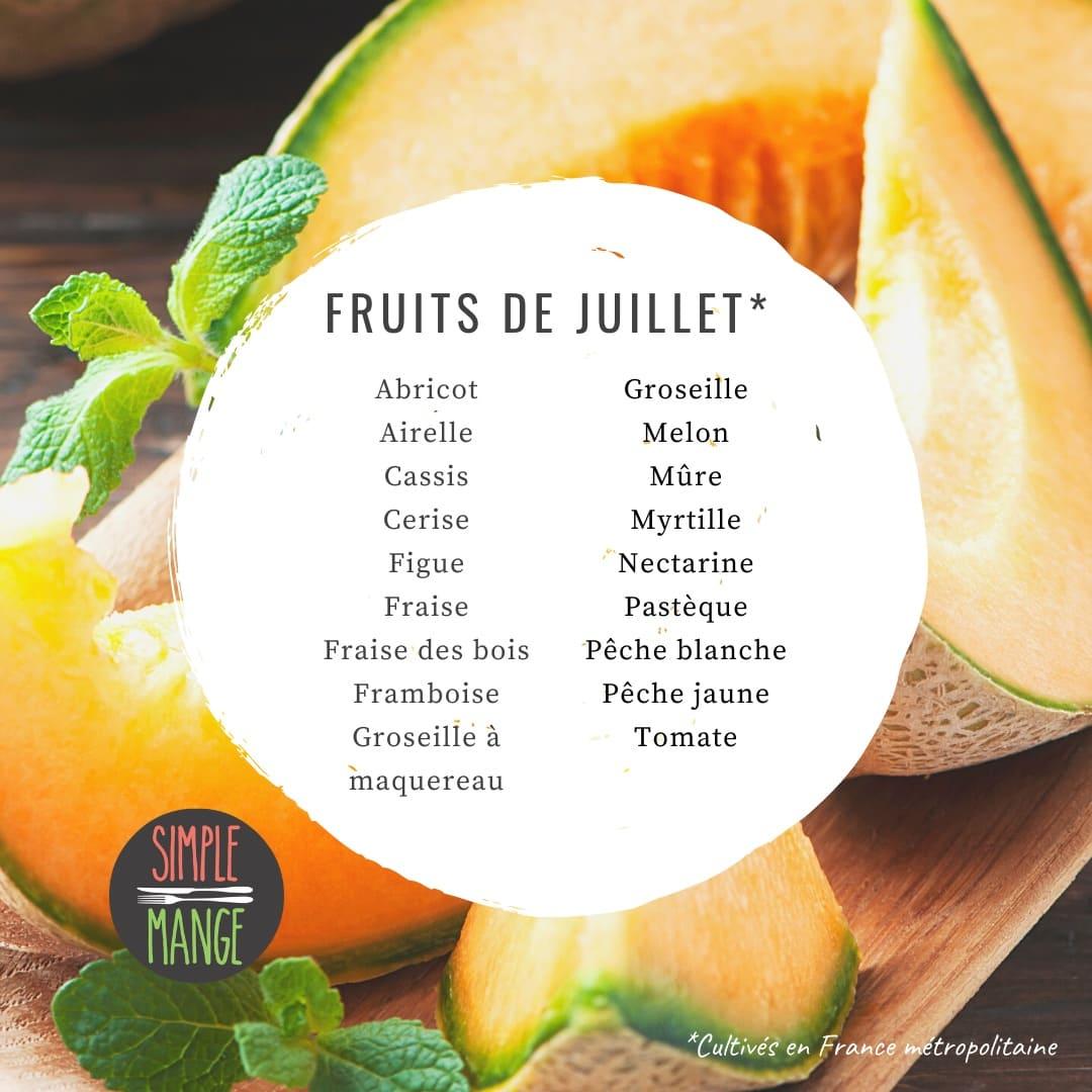 Calendrier de saisonnalité des fruits et légumes en juillet