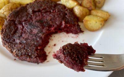Recette de livteak ou steak végétarien avec haricot rouge, pois chiche et betterave